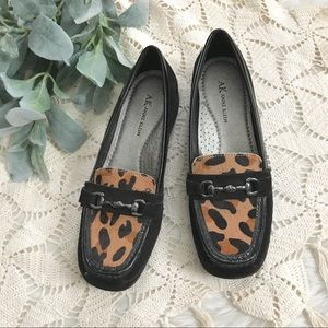 Anne Klein Black Leopard Calf Hair Loafer Clog
